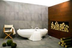 Bathroom with log stock photography