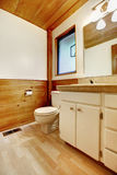 Bathroom in log cabin house Royalty Free Stock Photo