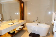 Bathroom in the luxury hotel royalty free stock photo