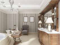Bathroom in luxury neo-classical style with sinks tubs and a lar Royalty Free Stock Photography