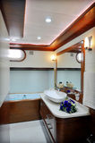 Bathroom of luxury yacht Stock Photos