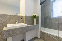 Bathroom with marble tiles. Modern bathroom with marble tiles and vase with flowers Stock Image
