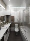 Bathroom minimalist style interior design, render 3D. Minimalist interior design ideas. Three dimensional rendering of bathroom project Royalty Free Stock Photo