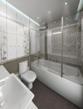 Bathroom minimalist style interior design, render 3D. Minimalist interior design ideas. Three dimensional rendering of bathroom project Stock Image