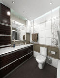 Bathroom minimalist style interior design, render 3D. Minimalist interior design ideas. Three dimensional rendering of bathroom project Stock Photos