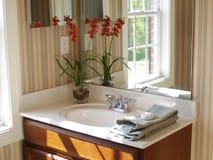 Bathroom Mirror. Bathroom vanity and mirror with a reflected window Stock Photos