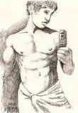 Bathroom mirror portrait Stock Photo