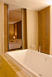 Bathroom modern and bedroom modern. Jacuzzi in bathroom modern and bedroom modern Stock Photos