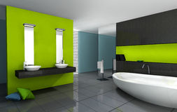 Bathroom Modern Design. Bathroom with modern and contemporary design and furniture colored in green, black and cyan, 3d rendering Stock Images