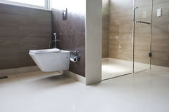 Bathroom in a modern design home. royalty free stock images