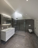 Bathroom of a modern house. Interior of a house, bathroom modern design royalty free stock images
