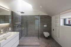 Bathroom of a modern house. Interior of a house, bathroom modern design royalty free stock image