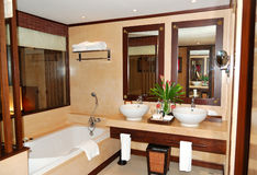Bathroom at modern luxury villa Royalty Free Stock Images