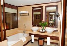 Bathroom at modern luxury villa royalty free stock images