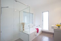 Bathroom in modern townhouse royalty free stock photo