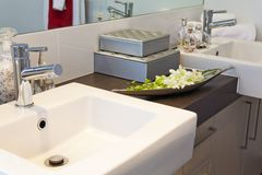 Bathroom in modern townhouse. Bathroom detail in modern townhouse stock images