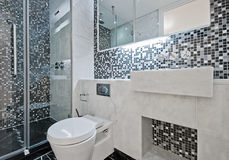 Bathroom with mosaic tiles Royalty Free Stock Photos