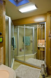 Bathroom in motor home. A view of a beautiful bathroom in a new modern motor home or recreational vehicle (RV Stock Photos