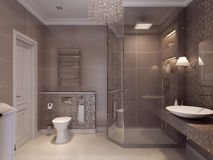 Bathroom in the neoclassical style. 3d visualization Royalty Free Stock Photography