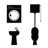 Bathroom objects black art illustration Stock Images