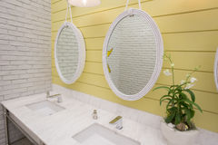 Bathroom at office.Handbasin and mirror in toilet Royalty Free Stock Photography