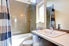 Bathroom with olive tile trim Royalty Free Stock Image