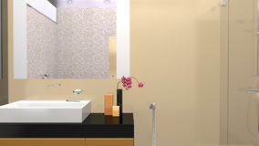 Bathroom with Orchid flower. The camera focused on the flower gradually shows shower room vector illustration