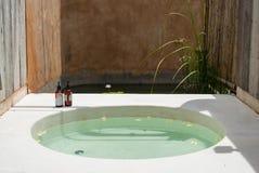 Bathroom and outdoor bathtub stock photos