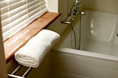 Bathroom. Picture of a bathroom with a white towel Stock Image