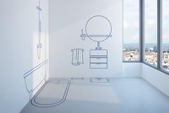 Bathroom planning design Stock Photography