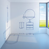 Bathroom planning design Royalty Free Stock Images