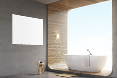 Bathroom with poster on gray wall and poster Royalty Free Stock Photography