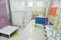 Bathroom in a preschool Stock Photos