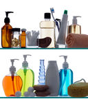 Bathroom products on shelves Royalty Free Stock Photography