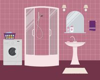 Bathroom in a purple color. There is a shower cabin, a wash basin, a mirror, a washing machine and other objects in the picture. Vector flat illustration Stock Image