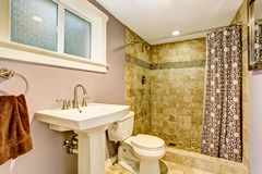 Bathroom with purple walls, green shower and nice curtains. Stock Photography