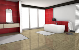 Bathroom With Red Granite Tiles Stock Photography