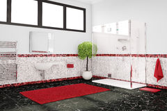 modern bathroom with black red and white tiles stock photography : bathroom black red white