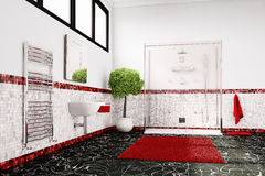 Bathroom in red, white and black Royalty Free Stock Photo