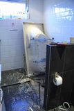 Bathroom renovation project. After some major leakage problems stock image