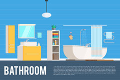 Bathroom room interior design. Furniture objects, elements and equipment. Vector concept Illustration trendy flat graphic design for web banner and printed Stock Photos
