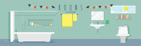 Bathroom (Rooms). Vector illustration of a bathroom stock illustration