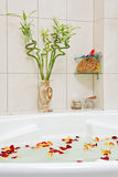 Bathroom with rose petals Stock Photography