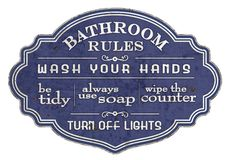 Free Bathroom Rules Sign Restroom Enamel Wash Hands Stock Photography - 164758122