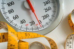 Bathroom scale. With large dial and tape measure.  Theme of dieting or living healthy Stock Photography