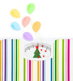 Bathroom scale with balloons and celebration text Royalty Free Stock Photography