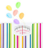 Bathroom scale with balloons and celebration text Stock Photos