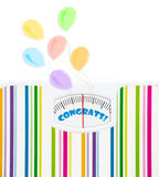 Bathroom scale with balloons and congrats text on dial Royalty Free Stock Photography