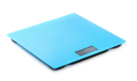 Bathroom scale. Blue digital bathroom scale isolated on white stock photo