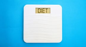 Bathroom scale, display diet Royalty Free Stock Photo